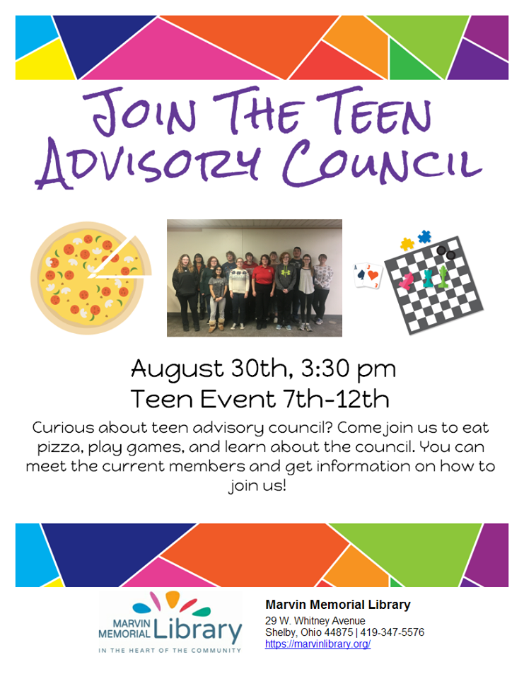 Teen Advisory Council Recruitment @ Marvin Memorial Library