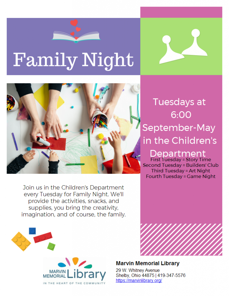 Family Night- Choose Your Activity @ Marvin Memorial Library
