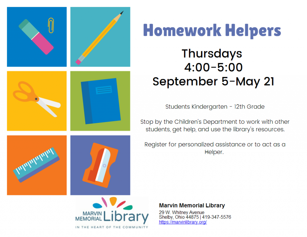 Homework Helpers @ Marvin Memorial Library