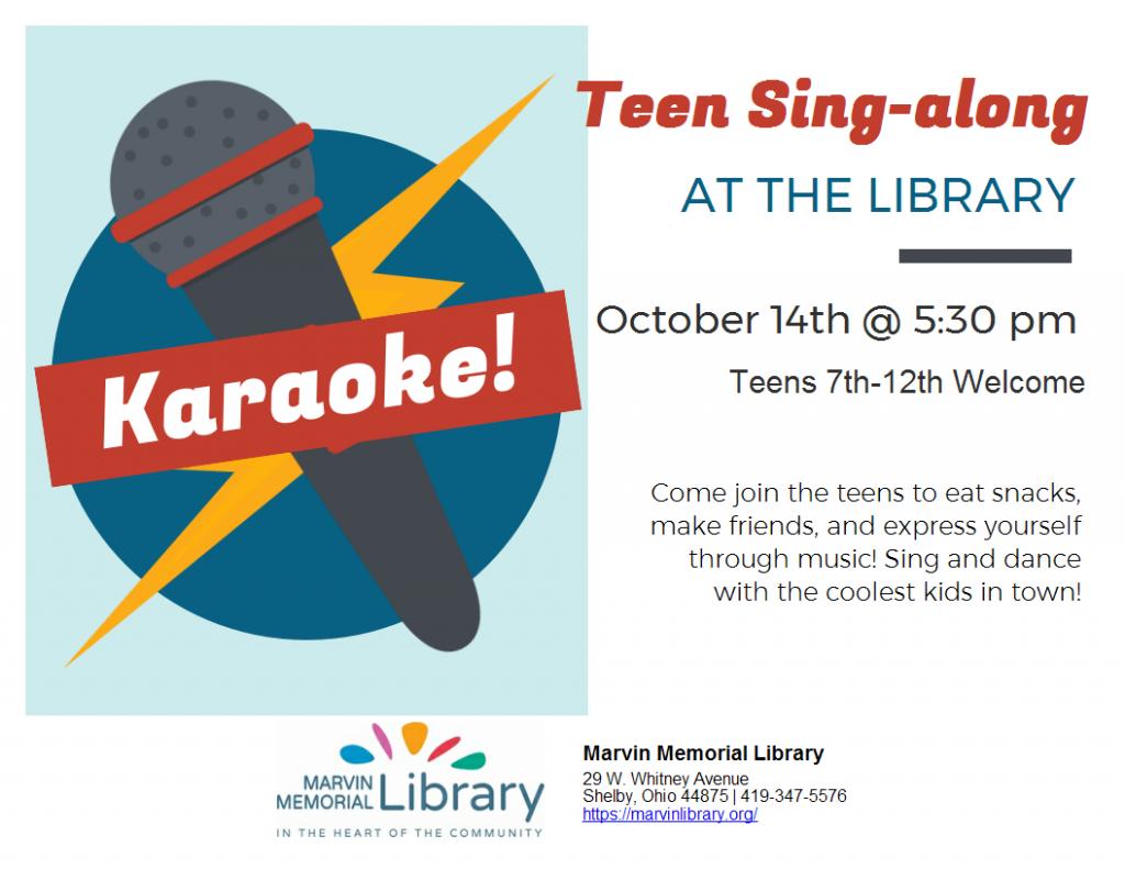 Teen Karaoke @ Marvin Memorial Library