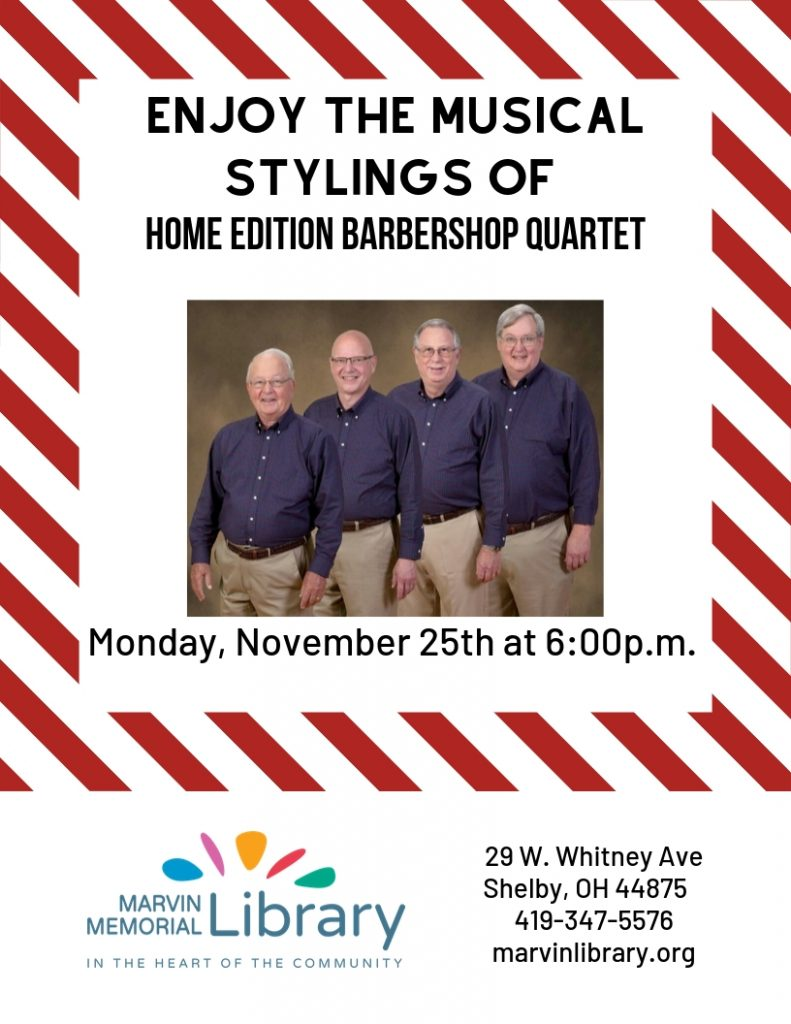 Home Edition Barbershop Quartet @ Marvin Memorial Library