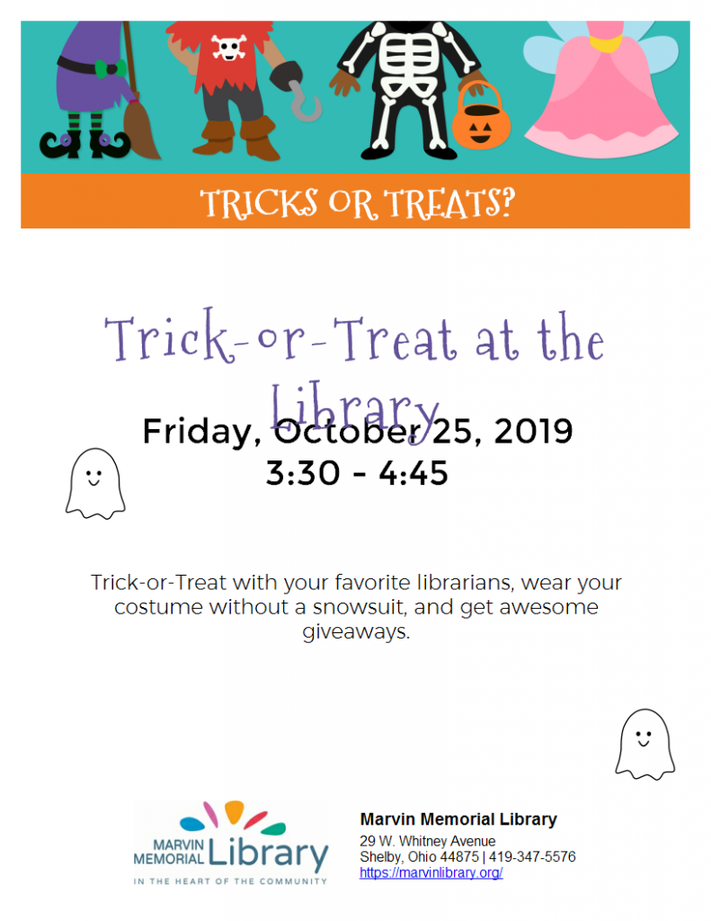Trick-or-Treat at the Library @ Marvin Memorial Library