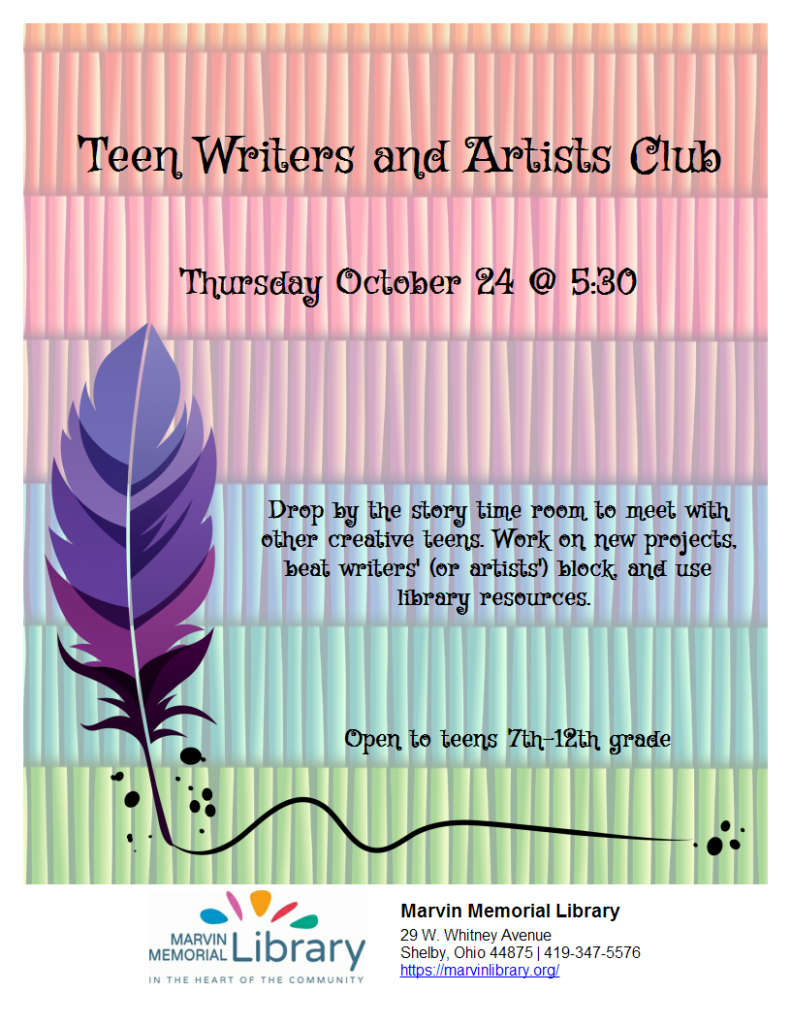October Teen Writers/ Artists Club @ Marvin Memorial Library