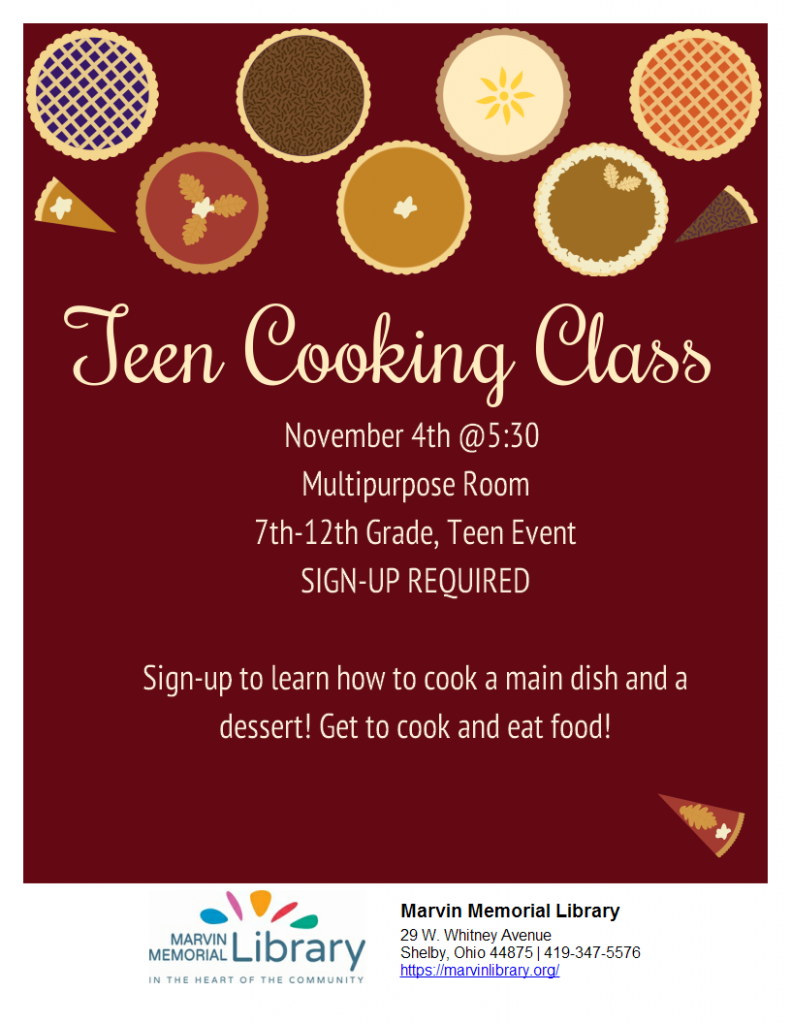 Teen Cooking Class @ Marvin Memorial Library