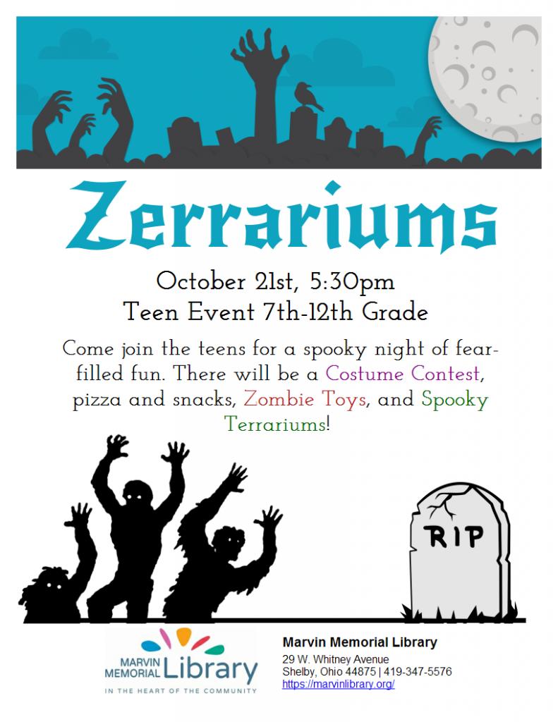 Teen Activity: Zerrariums @ Marvin Memorial Library