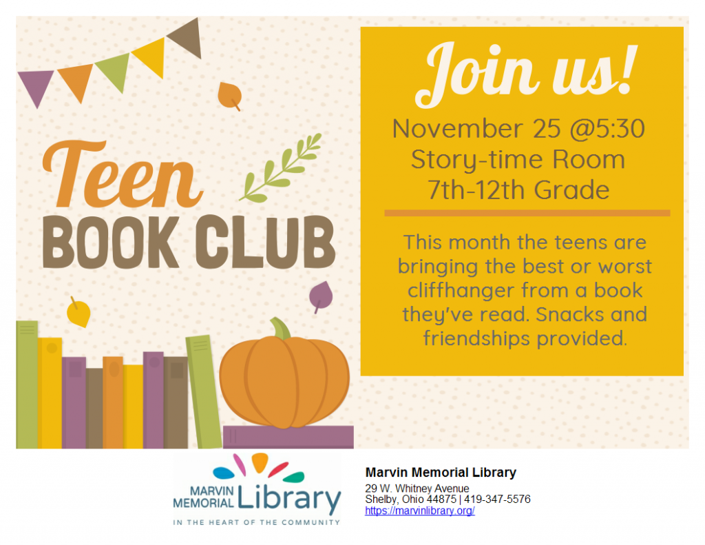 Teen Book Club @ Marvin Memorial Library