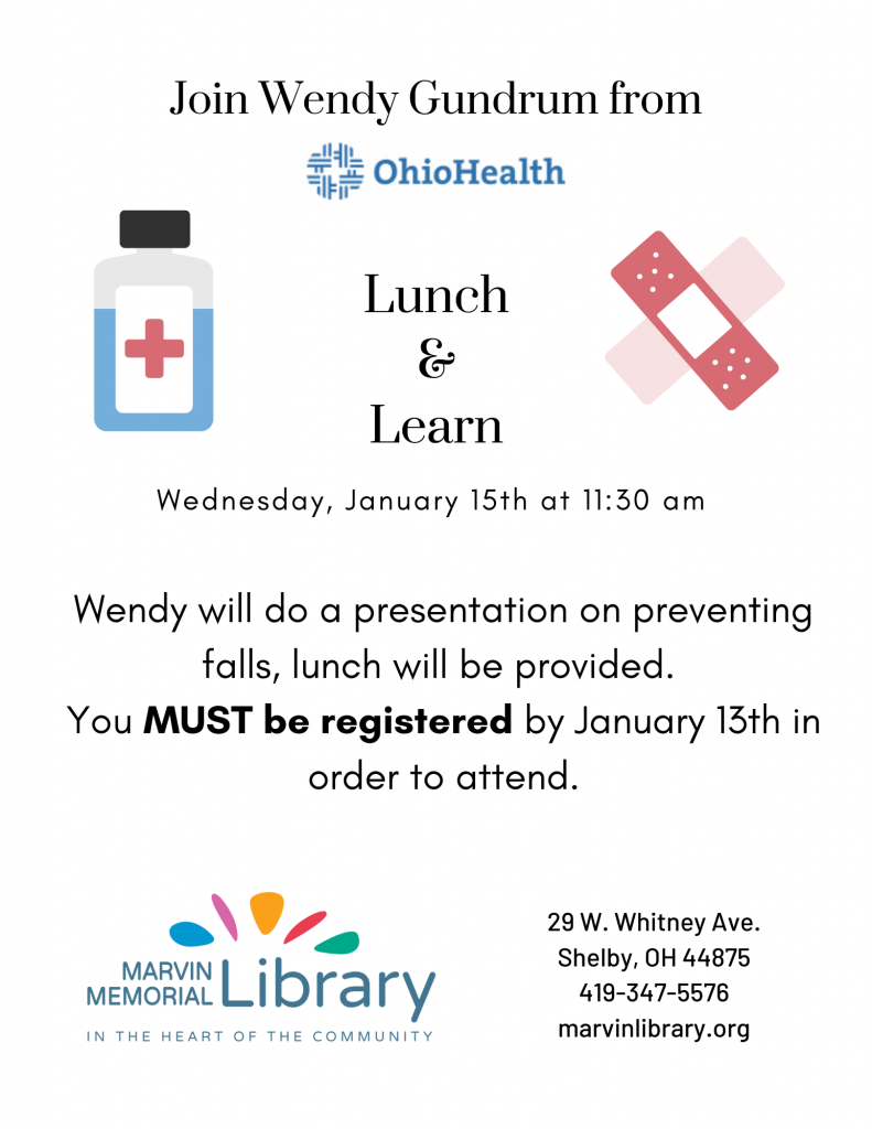 Lunch & Learn: Preventing Falls @ Marvin Memorial Library