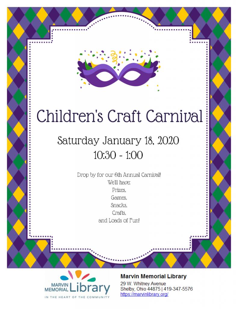 Children's Craft Carnival @ Marvin Memorial Library