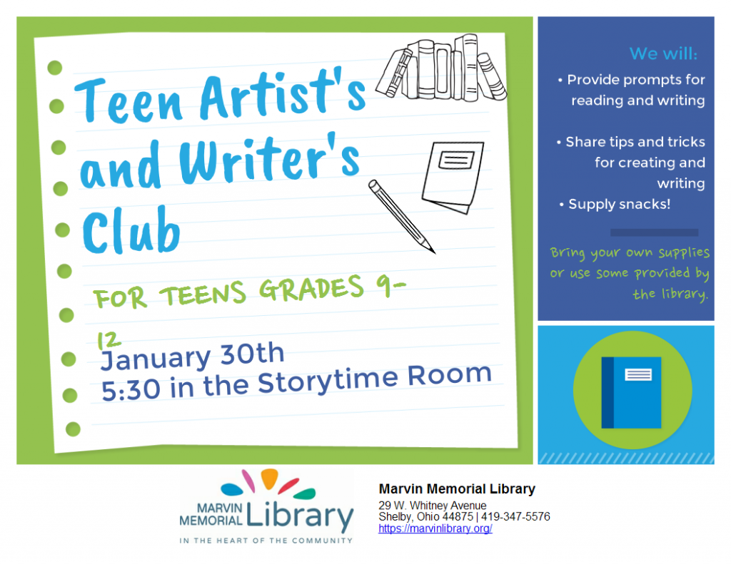 Teen Writers/ Artists Club @ Marvin Memorial Library