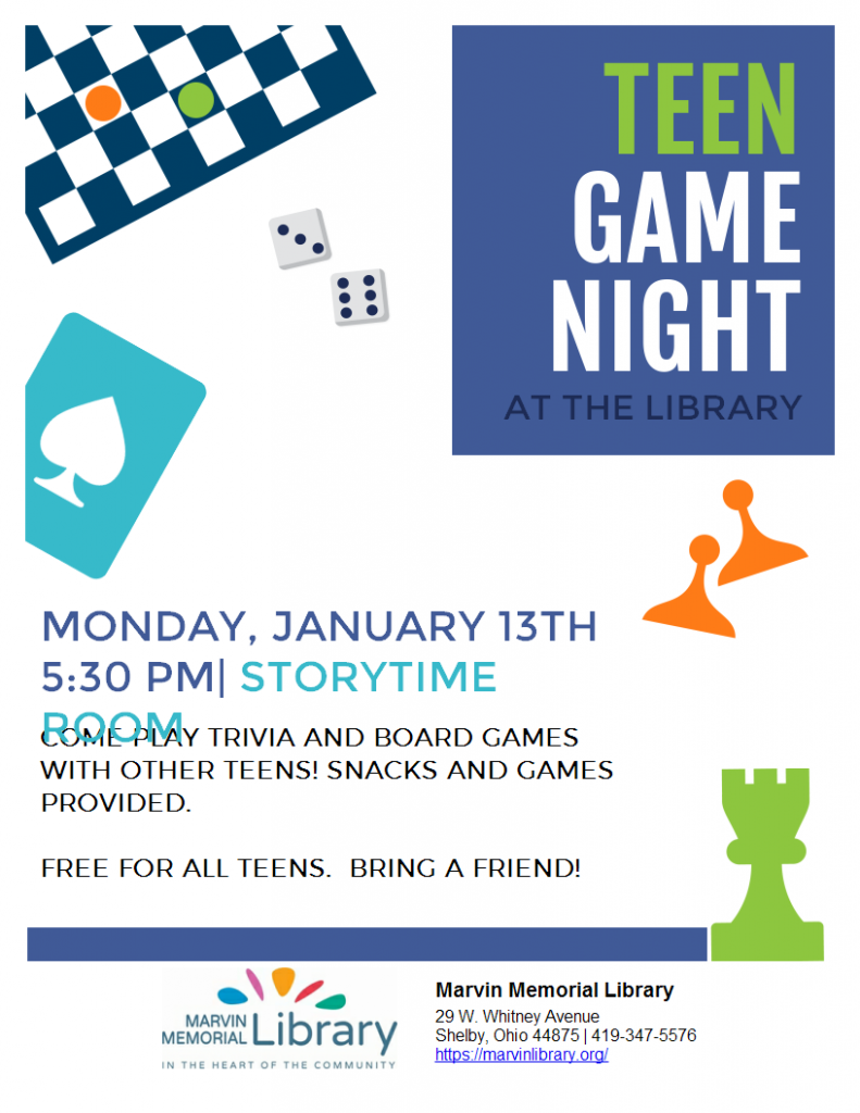 Teen Game Night @ Marvin Memorial Library