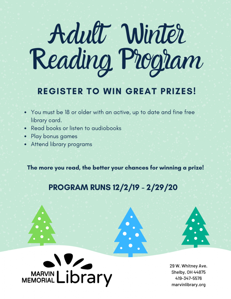 Adult Winter Reading: Prize Drawing! @ Marvin Memorial Library